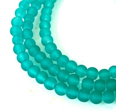 """4mm Frosted Sea Glass Round / Rocaille Beads Matte - Sea Green 15"""""""