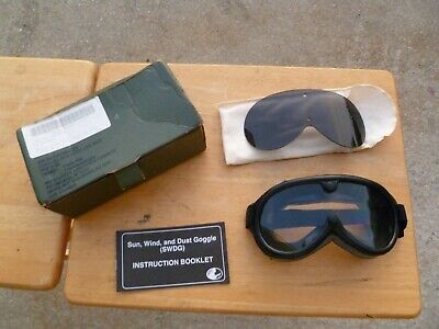 Vtg US Military Sun Wind and Dust Goggles w/ Tinted 2 Lenses 8465-01-328-8268