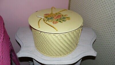 Vintage 40'S Princess Wicker Sewing Basket Yellow With Floral Design On Lid