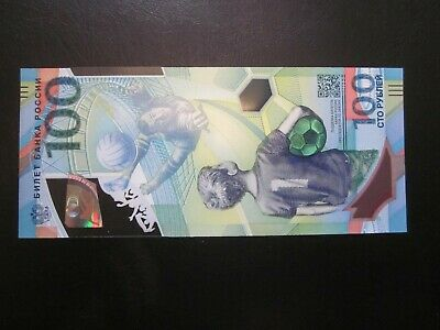100/% Original Russia 100 Rubles 2018 UNC Polymer Fifa World Cup