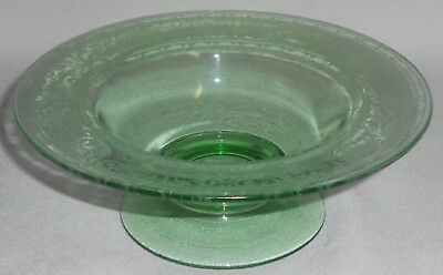 FOSTORIA Green Depression Glass ETCHED ROYAL PATTERN Footed Compote/Candy Bowl