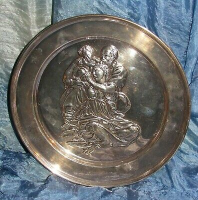 sterling silver dish repousse image holy family by michelangelo danbury mint 382