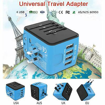JOLLYFIT International Universal Travel Adapter 4 USB 2.4A Charger AC Power NEW