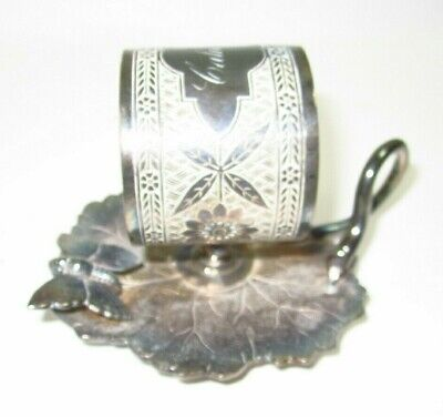 Antique J.W. Tufts Butterfly & Flowers Figural Silverplate Napkin Ring