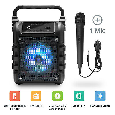 Karaoke Machine Portable System Flashing Lights & Microphone Bluetooth SD USB