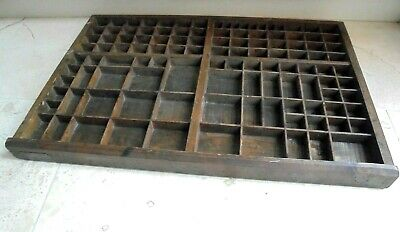 Large vintage French printers tray, display drawer, letterpress, brass label