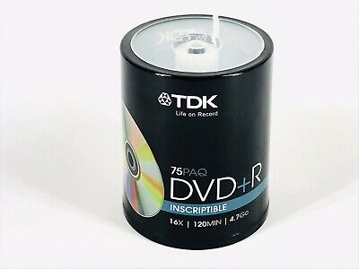 Tdk 4.7gb 16x Dvd+r Recordable & Inscriptible Spindle Disc 75-pack