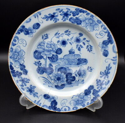 18Thc English Antique Delft Blue & White Plate Painted Chinese Style & Flowers