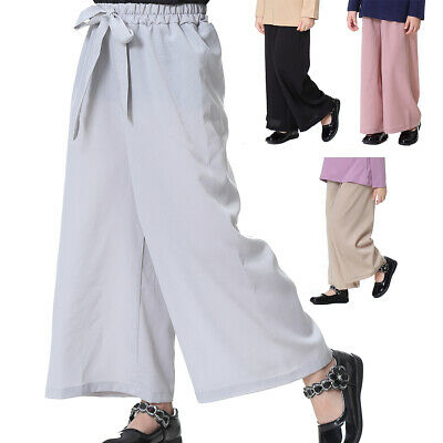 Kids Girls Casual Elastic High Waist Long Pants Wide Leg Loose Baggy Trousers