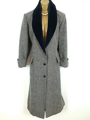 VTG LAURA ASHLEY Wool Herringbone Tweed Velvet Victorian Riding Coat UK 16 18