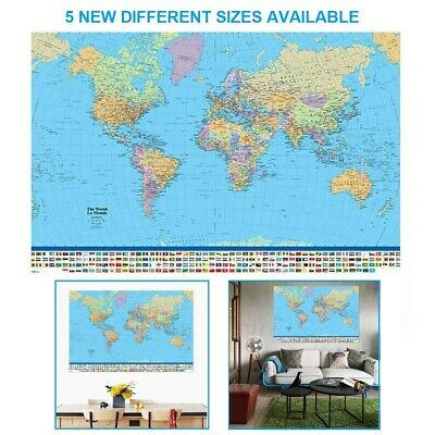 World Map Wall Art Poster Big Large With Country Flags Antique Home Decoration