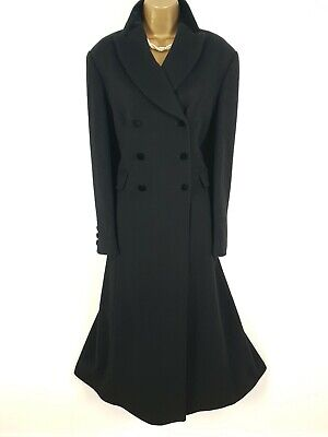 VTG LAURA ASHLEY Black Wool Velvet Victorian Riding Coat UK 14