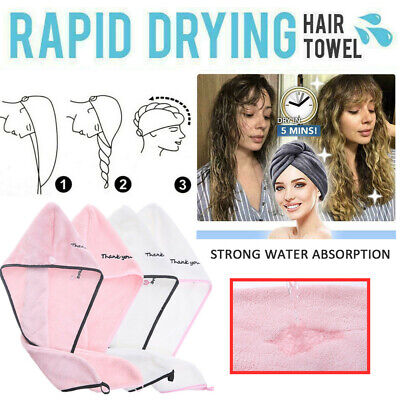 RAPID DRYING HAIR TOWEL - Thick Absorbent Shower Microfiber Bathing Magic Drying