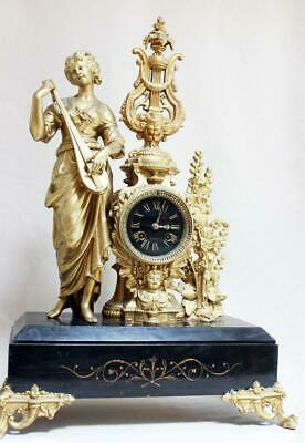 HUGHE ANTIQUE 1870 FRENCH  CLOCK  Gilt  Ormolu EMPIRE MARBLE renovated