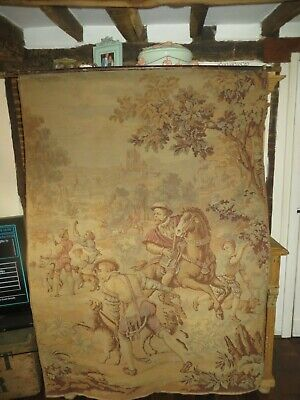LARGE & MAGNIFICENT ANTIQUE FRENCH CHATEAU TAPESTRY PANEL / WALL HANGING 1800's