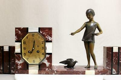 French   Clock Set  Marble   Art Deco Art Nouveau 1920