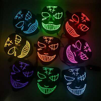 Halloween Led Light Face Mask Cosplay Costume Masquerade Party Purge Neon Mask