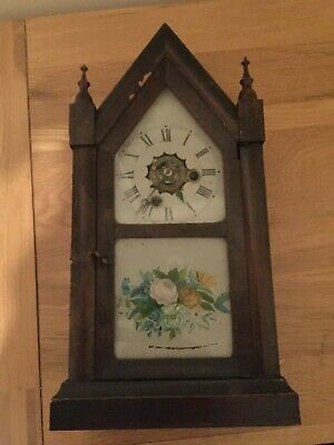 ANTIQUE CLOCK E N Welch Steeple Clock Mantle 30 Hour Chime - Listed Not Working