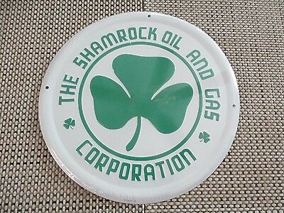 The Shamrock Oil & Gas Corporation Embossed Metal Sign Irish Clover NOS Quantity
