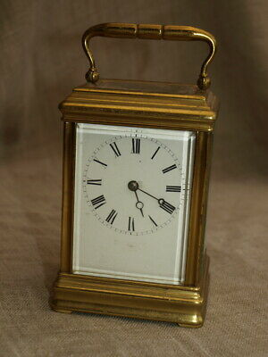 Vintage French Skeleton Carriage Clock - Brass with Bevelled Glass - Mechanical