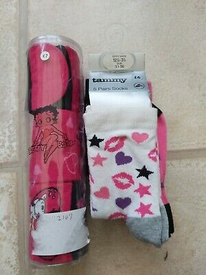 8 Pairs Of Girls Brand New Ankle Socks  12.5 - 3.5 BHS Betty Boop
