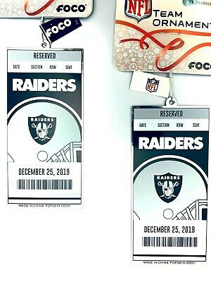 2 - Oakland Raiders 2019 Ornament NFL Ticket Style Metal Christmas Wrapping Tag