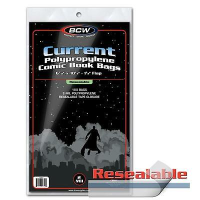"1 case of 1000 BCW Resealable Current 6 7/8"" Comic Book Storage Bags Sleeves"