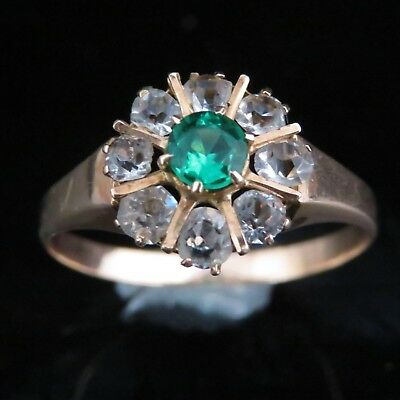 Victorian Old Cut Paste Green Gem 14k Yellow Gold Ring Antique Halo Gift c.1800s