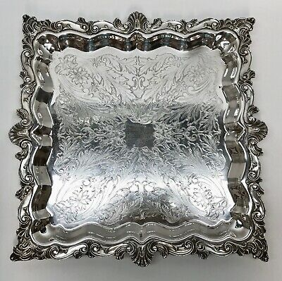 """STUNNING 15"""" BIRMINGHAM SILVER on Copper ORNATE SQUARE FOOTED TRAY"""