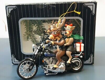 """Harley Davidson Motorcycle Christmas Ornament """"Two For The Road"""" Reindeer 1997"""