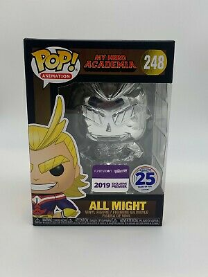 Funko Pop All Might Chrome NYCC Exclusive 248 W/Nycc Funimation Sticker