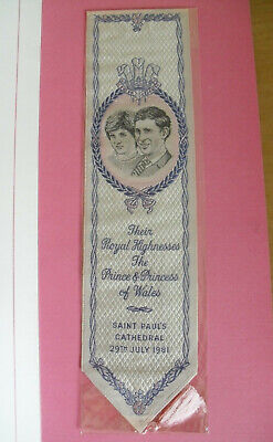 "Unopened Cash's Silk Bookmark - Royal Wedding Charles & Diana - 7 7/8""(20cms)"