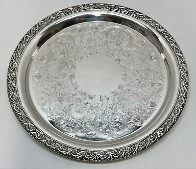 """Lovely 10"""" WM. ROGERS SILVER on COPPER ORNATE FLORAL ROUND TRAY #770"""