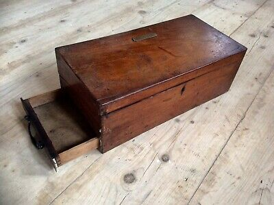 Antique Large Victorian Writing Slope Box,Travel Case,Drawer,H.A.JEBOULT TAUNTON