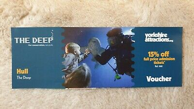 The Deep Hull Voucher Coupon. 15% off full price admission tickets.NO ONLINE USE