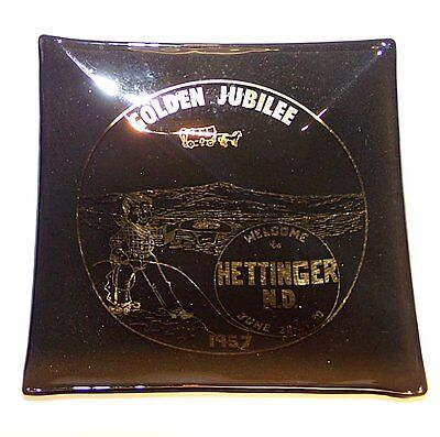 Vintage Hettinger North Dakota N.D. 1957 Golden Jubilee Glass Ashtray  South Ofr