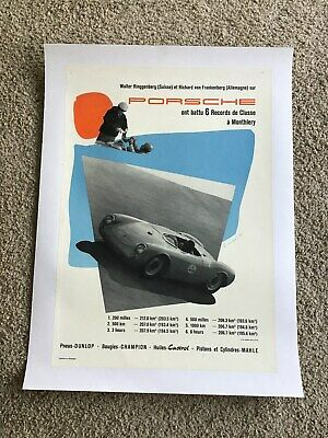 1955  Porsche  Factory printed racing poster,  In french, Original