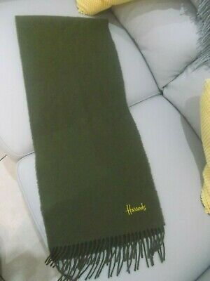 Harrods Mens Green Lambswool Scarf 62X12 Ins