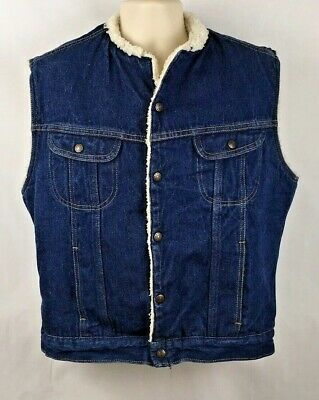 1970's Sears Roebucks Western Wear Denim Vest w/ Synthetic Shearling, Size 42-R