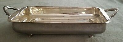 """Vtg 14""""x8.5"""" Silverplate Rectangular Casserole Dish Holder Footed Serving Tray"""