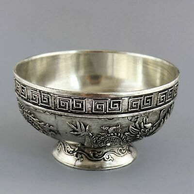 Collectable China Tibet Silver Carve Dragon & Phenix Chase Sun Auspicious Bowl