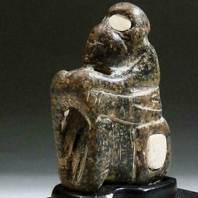 Rare BACTRIAN Stone MONKEY inlaid Alabaster EYES Amulet 1600 BC Bronze Age