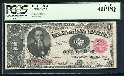 """Fr. 351 1891 $1 One Dollar """"Stanton"""" Treasury Note Pcgs Extremely Fine-40Ppq"""