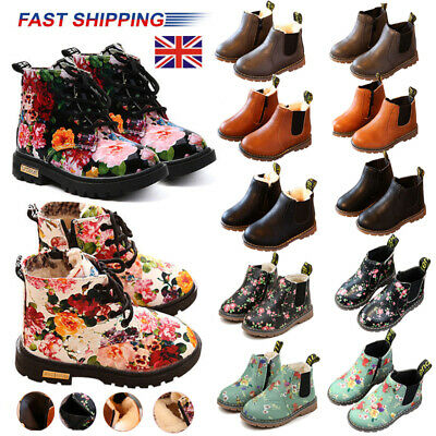 Kids Boys Girls Winter Warm Floral Fur Lined Ankle Boots Child Martin Shoes Size