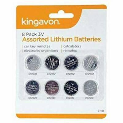 Set of 8 Assorted Lithium Button Cell Batteries