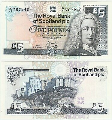 Royal Bank Of Scotland RBS £5 5 Pounds 2000 P-352d.1 UNC Banknote