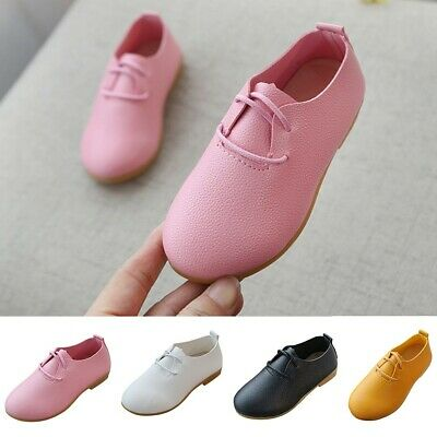 Children Girls Solid Leather Formal Princess Single Party Wedding Shoes DZ