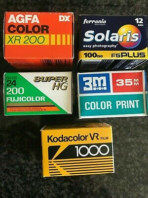 5 rolls  35mm film expired lot job Agfa & Fuji & 3M & Ferrania & Kodak out date