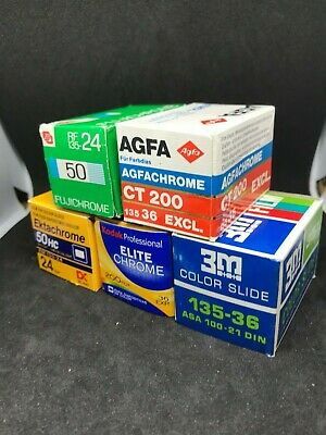 5 rolls  35mm slide film expired lot job Agfa & Fuji & 3M & Kodak out of date
