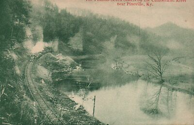 Vintage Pineville KY Railroad Train Seven Sisters on Cumberland River Post Card